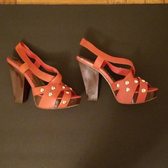 8204d80005a BCBGirls Shoes - LEATHER ORANGE BCBG GIRLS SIZE 9 OPEN TOE HEEL